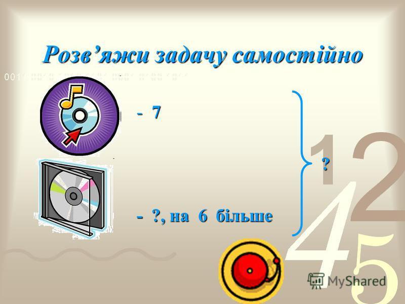 Розвяжи задачу самостійно -7-7-7-7 ? - ?, на 6 більше