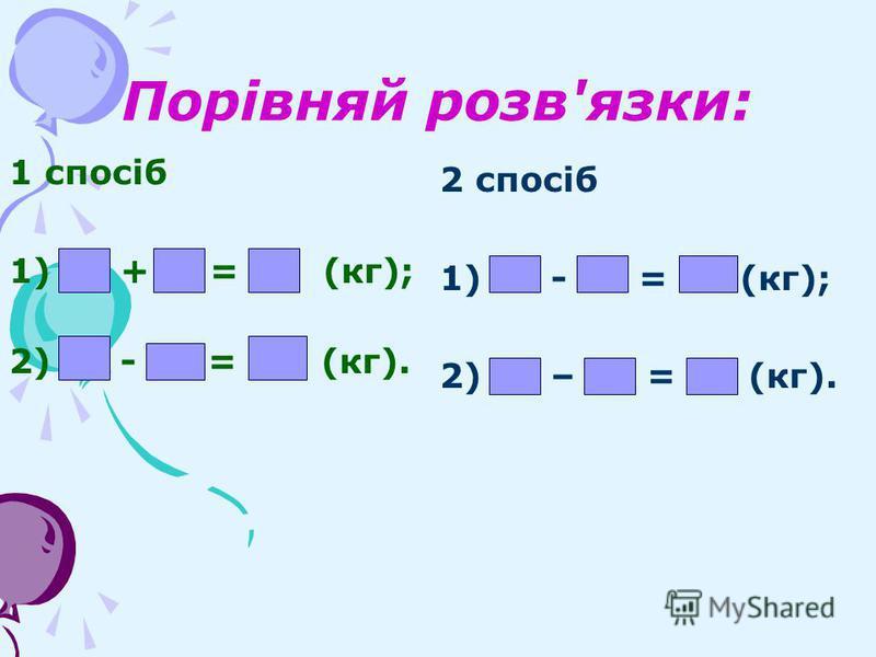 Порівняй розв'язки: 1 спосіб 1)12 +11 = 23 (кг); 2)33 - 23 = 10 (кг). 2 спосіб 1)33 - 12 = 21 (кг); 2)21 – 11 = 10 (кг).