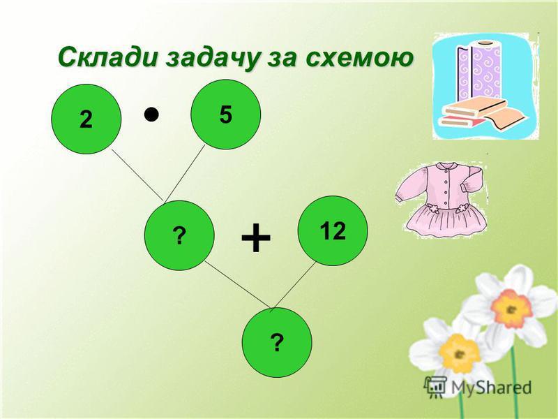 Склади задачу за схемою 2 ? 12 ? 5