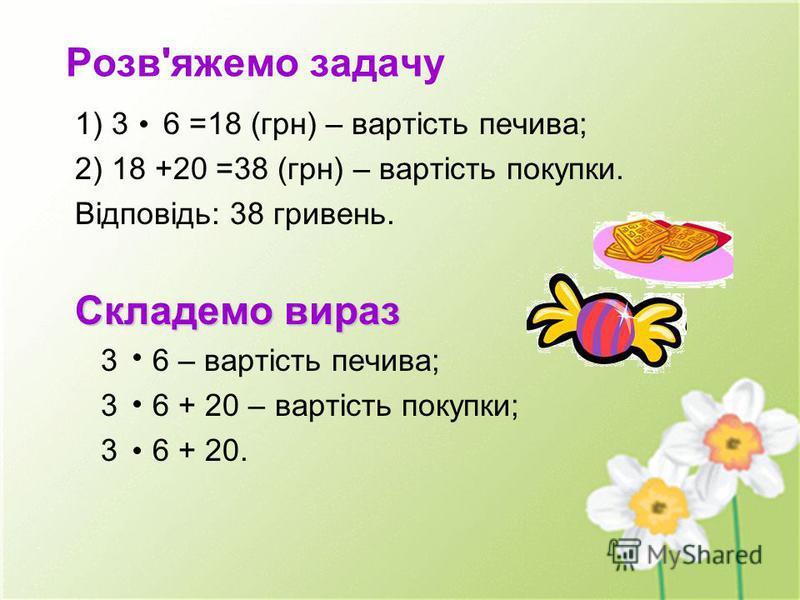 Розв'яжемо задачу 1) 3 6 =18 (грн) – вартість печива; 2) 18 +20 =38 (грн) – вартість покупки. Відповідь: 38 гривень. Складемо вираз 3 6 – вартість печива; 3 6 + 20 – вартість покупки; 3 6 + 20.