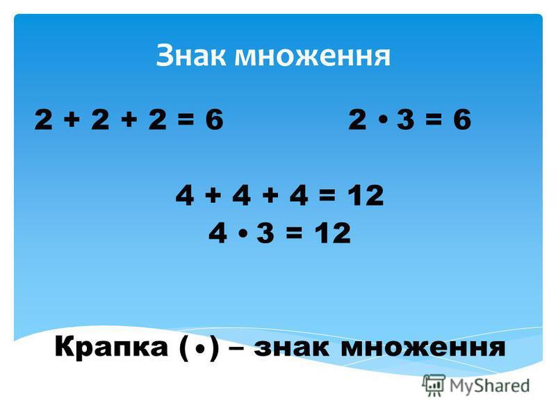 Знак множення 2 + 2 + 2 = 6 2 3 = 6 4 + 4 + 4 = 12 4 3 = 12 Крапка ( ) – знак множення