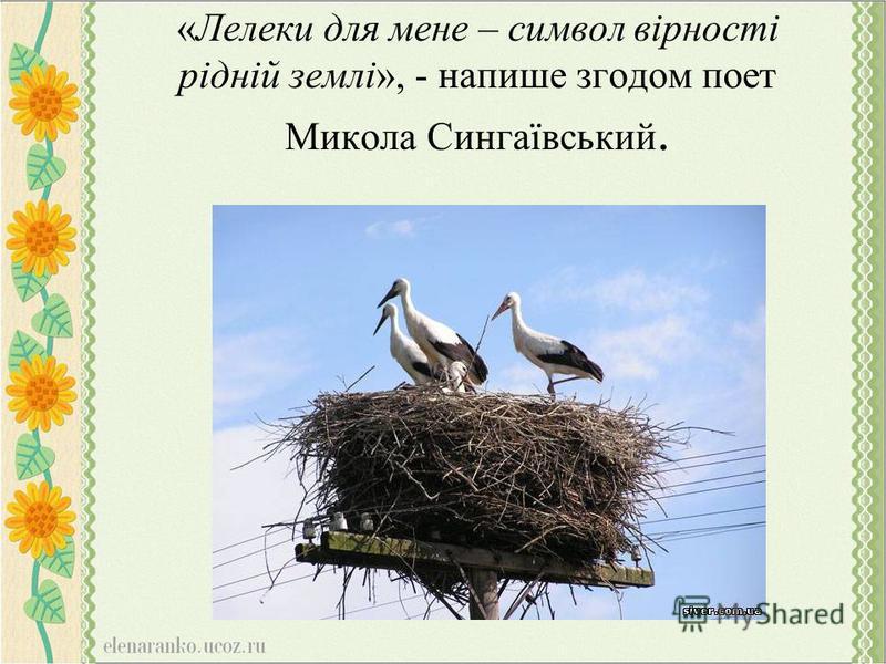 «Лелеки для мене – символ вірності рідній землі», - напише згодом поет Микола Сингаївський.