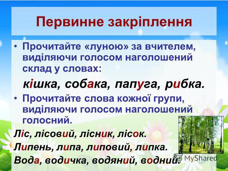 Первинне закріплення Прочитайте «луною» за вчителем, виділяючи голосом наголошений склад у словах: кішка, собака, папуга, рибка. Прочитайте слова кожної групи, виділяючи голосом наголошений голосний. Ліс, лісовий, лісник, лісок. Липень, липа, липовий