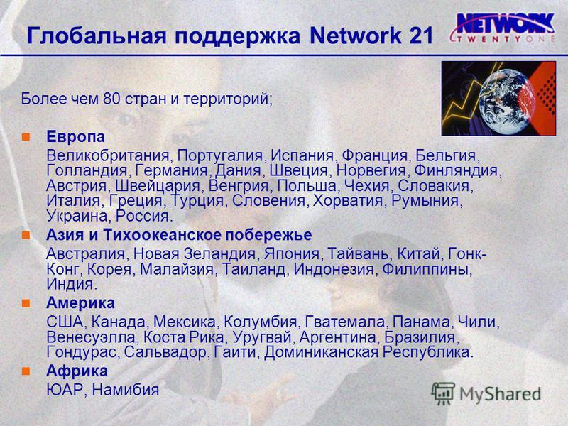 Глобальная поддержка Network 21 Более чем 80 стран и территорий; Европа Великобритания, Португалия, Испания, Франция, Бельгия, Голландия, Германия, Дания, Швеция, Норвегия, Финляндия, Австрия, Швейцария, Венгрия, Польша, Чехия, Словакия, Италия, Грец