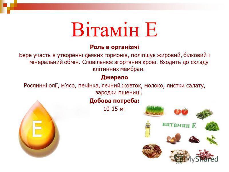 Вітамін Е Роль в організмі Бере участь в утворенні деяких гормонів, поліпшує жировий, білковий і мінеральний обмін. Сповільнює згортяння крові. Входить до складу клітинних мембран. Джерело Рослинні олії, мясо, печінка, яєчний жовток, молоко, листки с