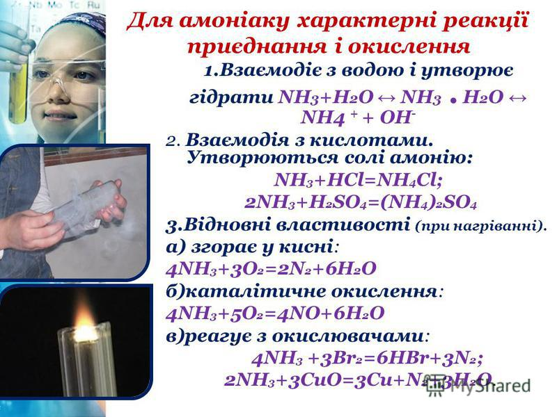 Для амоніаку характерні реакції приєднання і окислення 1.Взаємодіє з водою і утворює гідрати NH 3 +H 2 O NH 3. H 2 O NH4 + + ОН - 2. Взаємодія з кислотами. Утворюються солі амонію: NH 3 +HCl=NH 4 Cl; 2NH 3 +H 2 SO 4 =(NH 4 ) 2 SO 4 3.Відновні властив
