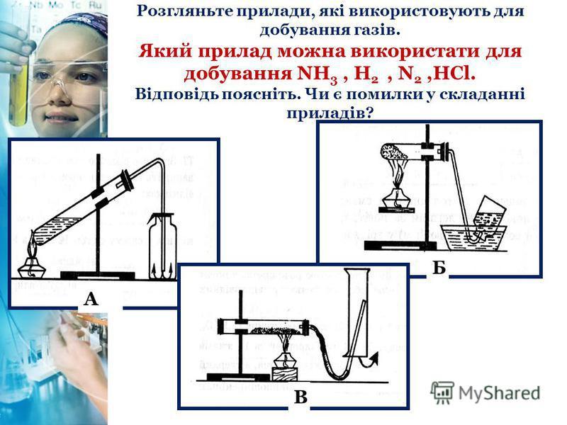 Розгляньте прилади, які використовують для добування газів. Який прилад можна використати для добування NH 3, H 2, N 2,HCl. Відповідь поясніть. Чи є помилки у складанні приладів? А Б В