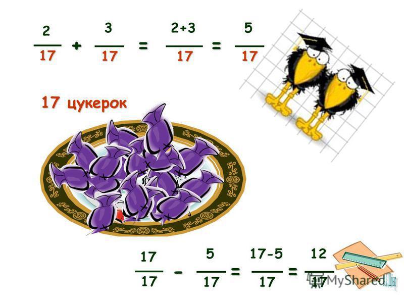 217 + 317 2+317 = 17 - 5 17-5 17 = 517 = 12 17 = 17 цукерок