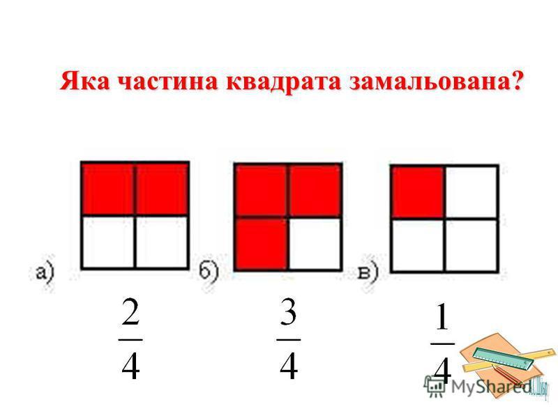 Яка частина квадрата замальована?