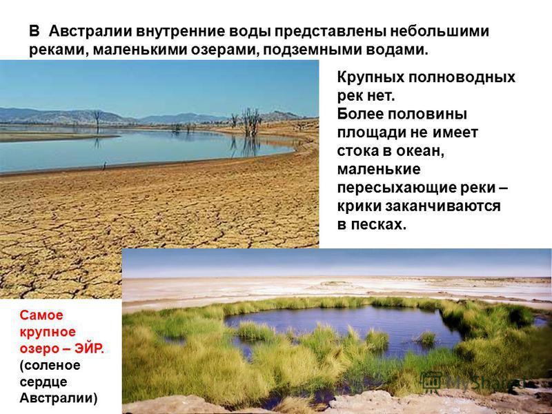 В Австралии внутренние воды представлены небольшими реками, маленькими озерами, подземными водами. Крупных полноводных рек нет. Более половины площади не имеет стока в океан, маленькие пересыхающие реки – крики заканчиваются в песках. Самое крупное о