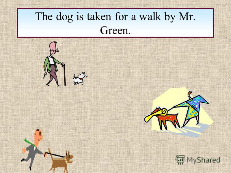 3 The dog is taken for a walk by Mr. Green.