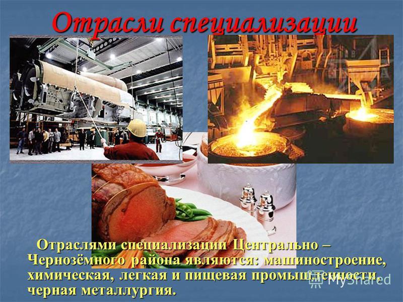 Отрасли специализации Отраслями специализации Центрально – Чернозёмного района являются: машиностроение, химическая, легкая и пищевая промышленности, черная металлургия. Отраслями специализации Центрально – Чернозёмного района являются: машиностроени
