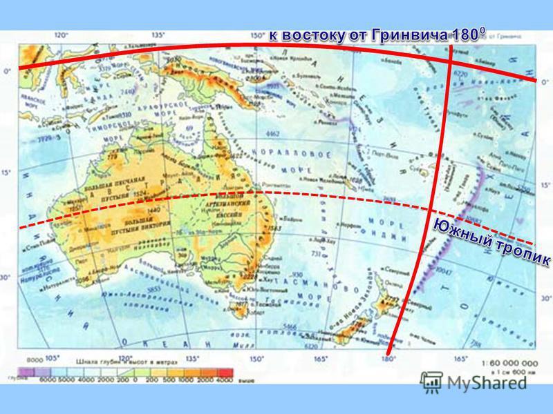 План изучения материка 1. Как расположен относительно экватора, тропиков (полярных кругов), и нулевого меридиана. 2. Найдите крайние точки материка, их координаты и протяженность материка в градусах и километрах с севера на юг и с запада на восток. 3