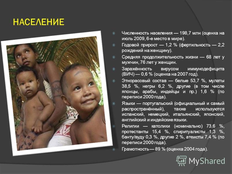 НАСЕЛЕНИЕ Численность населения 198,7 млн (оценка на июль 2009, 6-е место в мире). Годовой прирост 1,2 % (фертильность 2,2 рождений на женщину). Средняя продолжительность жизни 68 лет у мужчин, 76 лет у женщин. Заражённость вирусом иммунодефицита (ВИ