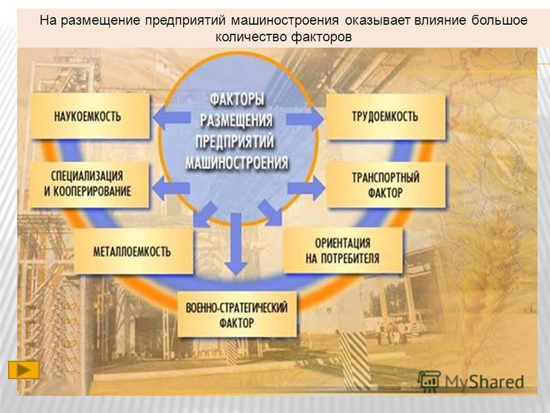 На размещение предприятий машиностроения оказывает влияние большое количество факторов