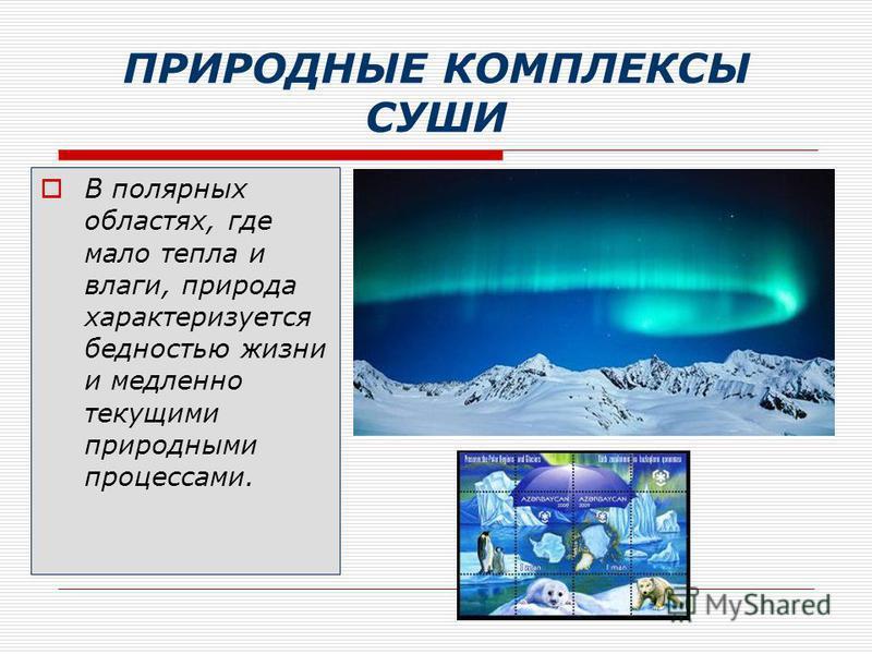 ПРИРОДНЫЕ КОМПЛЕКСЫ СУШИ В полярных областях, где мало тепла и влаги, природа характеризуется бедностью жизни и медленно текущими природными процессами.