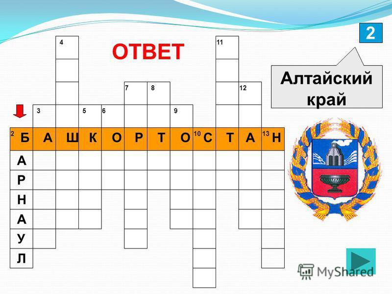 2 БАШКОРТОСТАН Алтайский край ОТВЕТ А Р Н А У Л 213 12 11 10 9 87 65 4 3