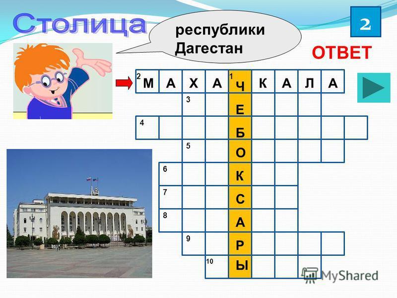 республики Дагестан 2 ОТВЕТ Ч Е Б О К С А Р Ы МАХАКАЛА 12 3 4 5 6 7 8 9 10