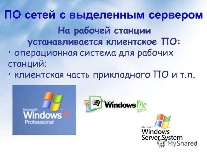 На рабочей станции устанавливается клиентское ПО: операционная система для рабочих станций; клиентская часть прикладного ПО и т.п. ПО сетей с выделенным сервером