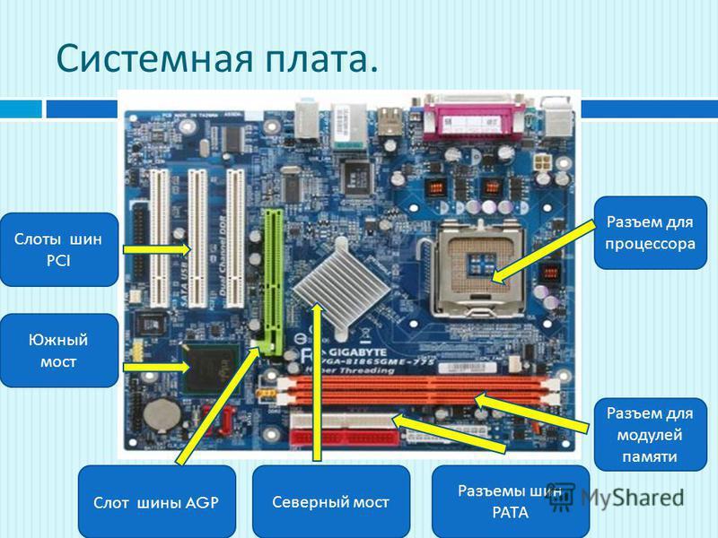 Системная плата. Разъем для процессора Разъем для модулей памяти Разъемы шин РАТА Слот шины AGP Северный мост Слоты шин PCI Южный мост