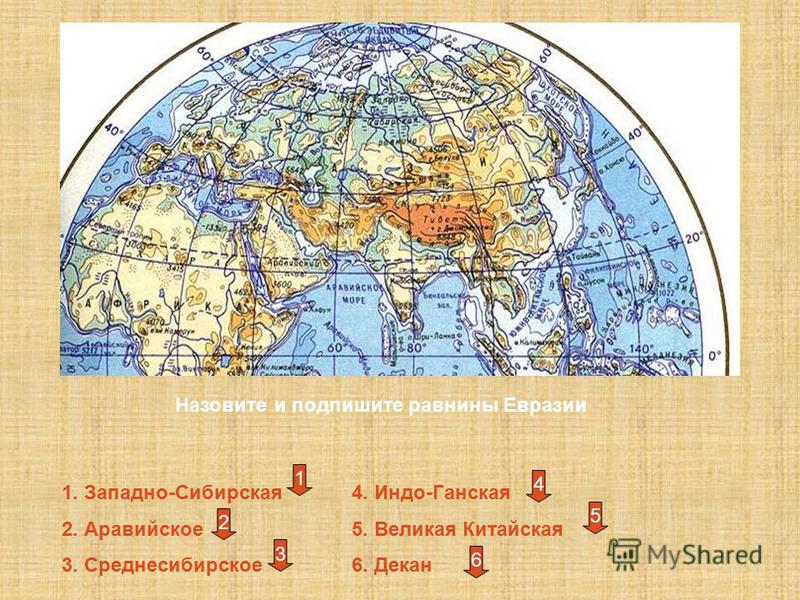 Назовите и подпишите равнины Евразии 1. Западно-Сибирская 2. Аравийское 3. Среднесибирское 4. Индо-Ганская 5. Великая Китайская 6. Декан 1 2 3 4 5 6