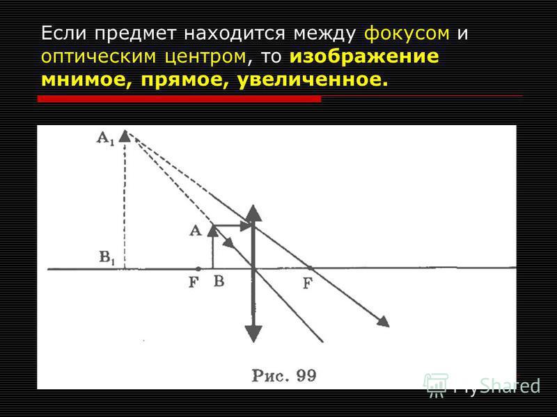 Если предмет находится в фокусе, то изображение находится в бесконечности.