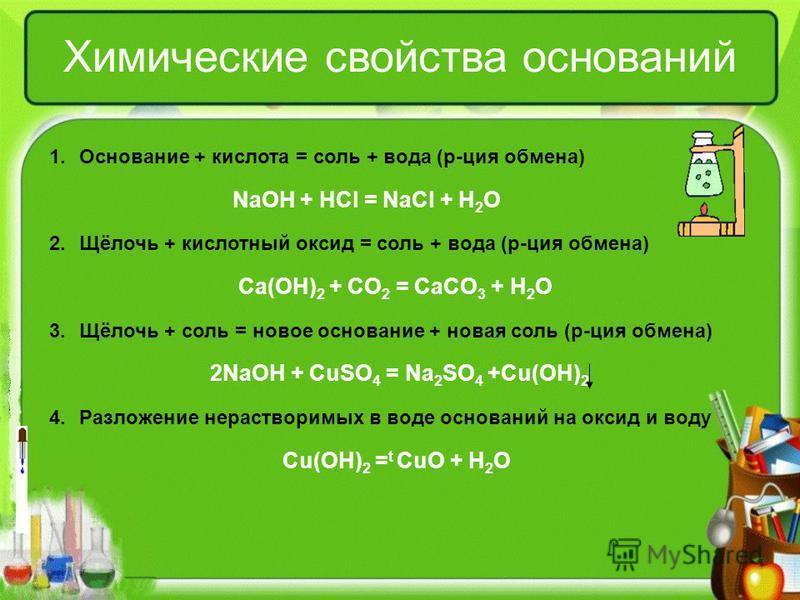Химические свойства оснований 1. Основание + кислота = соль + вода (р-ция обмена) NaOH + HCl = NaCl + H 2 O 2.Щёлочь + кислотный оксид = соль + вода (р-ция обмена) Ca(OH) 2 + CO 2 = CaCO 3 + H 2 O 3.Щёлочь + соль = новое основание + новая соль (р-ция
