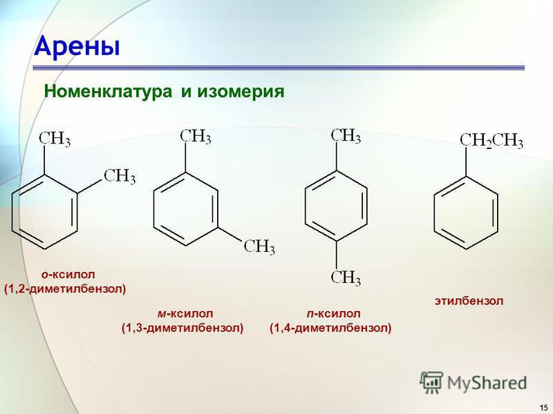 15 Арены Номенклатура и изомерия о-ксилол (1,2-диметилбензол) м-ксилол (1,3-диметилбензол) п-ксилол (1,4-диметилбензол) этилбензол