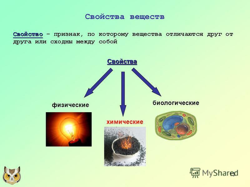 13 Свойства веществ Свойство Свойство – признак, по которому вещества отличаются друг от друга или сходны между собой Свойства физические химические биологические