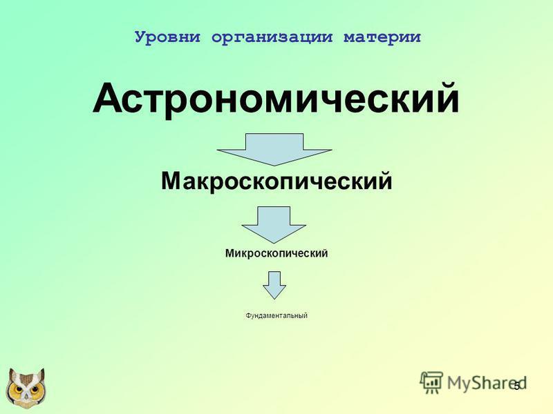 5 Уровни организации материи Астрономический Макроскопический Микроскопический Фундаментальный
