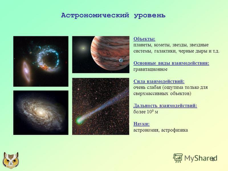 6 Астрономический уровень Объекты: планеты, кометы, звезды, звездные системы, галактики, черные дыры и т.д. Основные виды взаимодействия: гравитационное Сила взаимодействий: очень слабая (ощутима только для сверхмассивных объектов) Дальность взаимоде