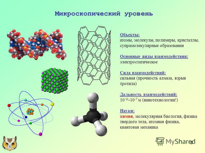 8 Микроскопический уровень Объекты: атомы, молекулы, полимеры, кристаллы, супрамолекулярные образования Основные виды взаимодействия: электростатическое Сила взаимодействий: сильная (прочность алмаза, взрыв тротила) Дальность взаимодействий: 10 -11 -