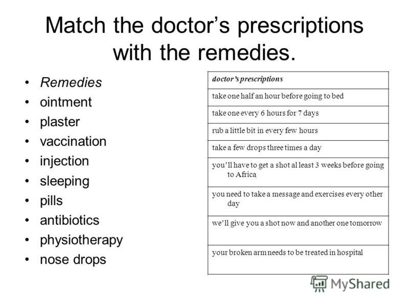 Match the doctors prescriptions with the remedies. Remedies ointment plaster vaccination injection sleeping pills antibiotics physiotherapy nose drops doctors prescriptions take one half an hour before going to bed take one every 6 hours for 7 days r