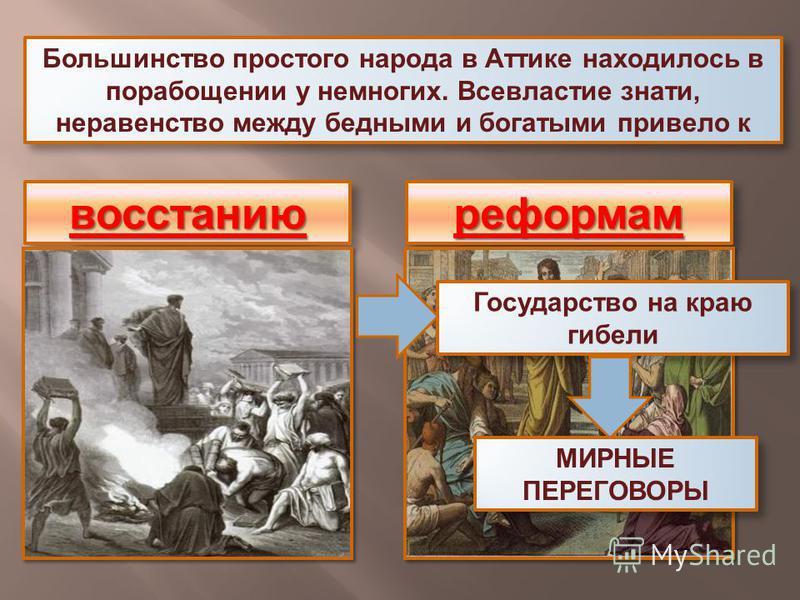 Большинство простого народа в Аттике находилось в порабощении у немногих. Всевластие знати, неравенство между бедными и богатыми привело к восстаниювосстаниюреформамреформам Государство на краю гибели МИРНЫЕ ПЕРЕГОВОРЫ