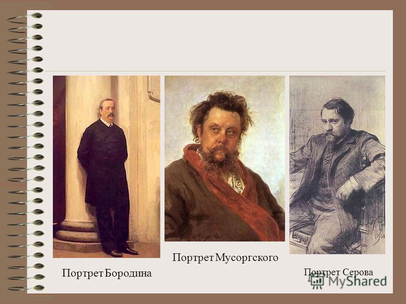 Портрет Бородина Портрет Мусоргского Портрет Серова