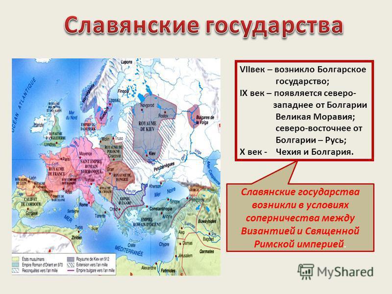 VIIвек – возникло Болгарское государство; IX век – появляется северо- западнее от Болгарии Великая Моравия; северо-восточнее от Болгарии – Русь; X век - Чехия и Болгария. Славянские государства возникли в условиях соперничества между Византией и Свящ