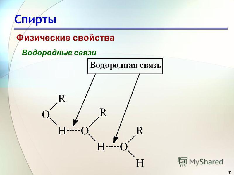 11 Спирты Физические свойства Водородные связи