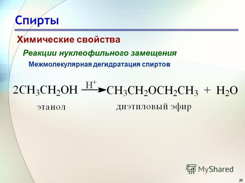 20 Спирты Химические свойства Реакции нуклеофильного замещения Межмолекулярная дегидратация спиртов