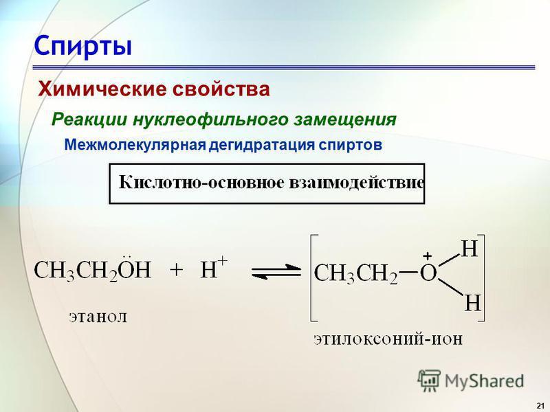 21 Спирты Химические свойства Реакции нуклеофильного замещения Межмолекулярная дегидратация спиртов