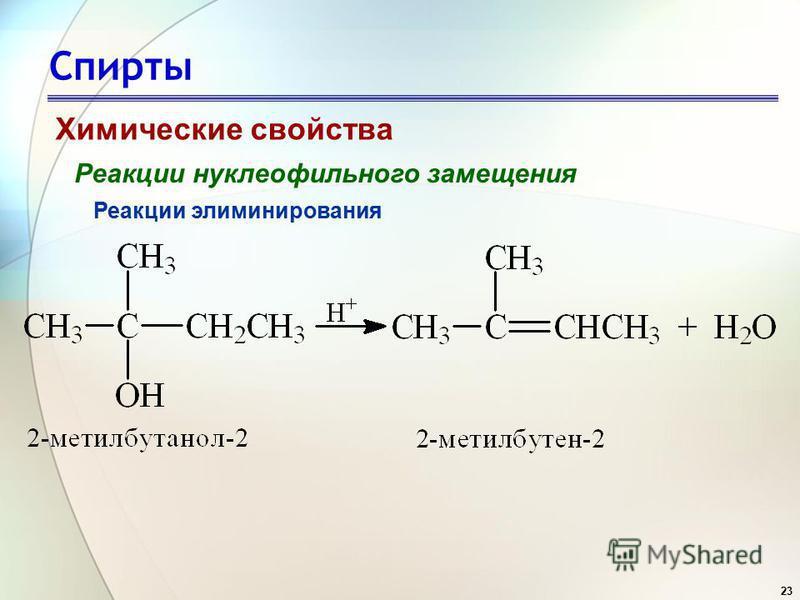 23 Спирты Химические свойства Реакции нуклеофильного замещения Реакции элиминирования