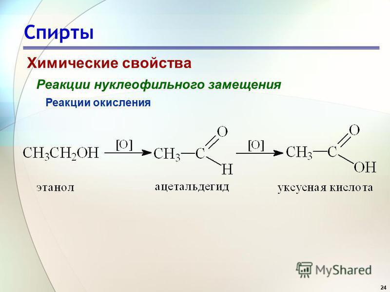 24 Спирты Химические свойства Реакции нуклеофильного замещения Реакции окисления