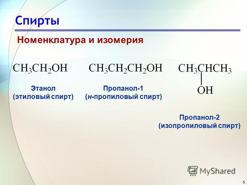 5 Спирты Номенклатура и изомерия Этанол (этиловый спирт) Пропанол-1 (н-пропиловый спирт) Пропанол-2 (изопропиловый спирт)