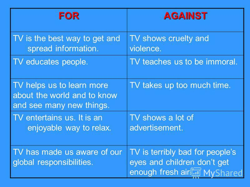 FORAGAINST TV is the best way to get and spread information. TV shows cruelty and violence. TV educates people.TV teaches us to be immoral. TV helps us to learn more about the world and to know and see many new things. TV takes up too much time. TV e