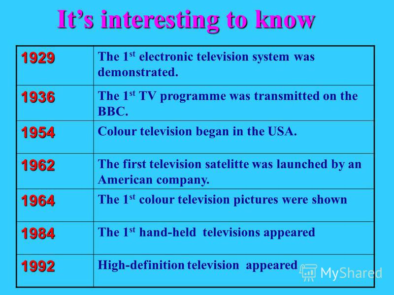 1929 The 1 st electronic television system was demonstrated. 1936 The 1 st TV programme was transmitted on the BBC. 1954 Colour television began in the USA. 1962 The first television satelitte was launched by an American company. 1964 The 1 st colour