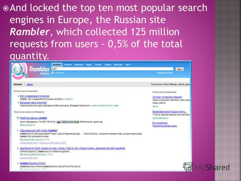 And locked the top ten most popular search engines in Europe, the Russian site Rambler, which collected 125 million requests from users - 0,5% of the total quantity.