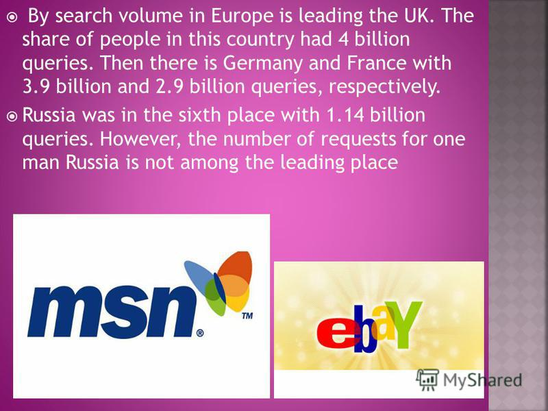 By search volume in Europe is leading the UK. The share of people in this country had 4 billion queries. Then there is Germany and France with 3.9 billion and 2.9 billion queries, respectively. Russia was in the sixth place with 1.14 billion queries.