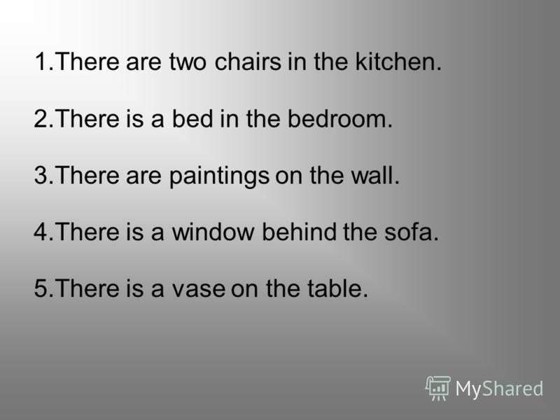 1.chairs/There/two/in/kitchen/the/are. 2.a/bed/There/bedroom/is/the/in. 3.paintings/are/wall/the/There/on. 4.behind/There/window/is/the/sofa/a. 5.vase/the/is/on/There/a/table.