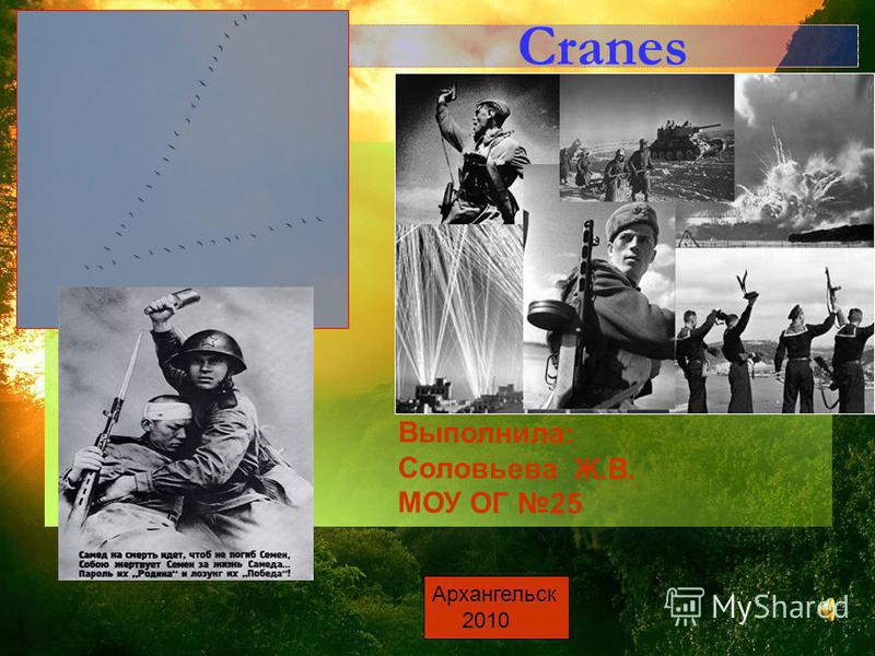 Cranes Выполнила: Соловьева Ж.В. МОУ ОГ 25 Архангельск 2010