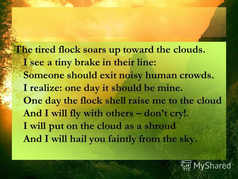 The tired flock soars up toward the clouds. I see a tiny brake in their line: Someone should exit noisy human crowds. I realize: one day it should be mine. One day the flock shell raise me to the cloud And I will fly with others – dont cry!. I will p