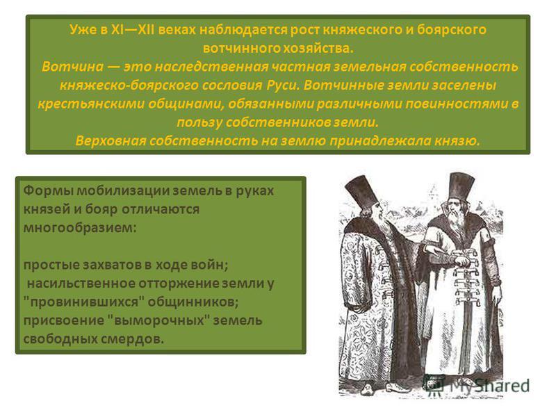 Уже в XIXII веках наблюдается рост княжеского и боярского вотчинного хозяйства. Вотчина это наследственная частная земельная собственность княжеско-боярского сословия Руси. Вотчинные земли заселены крестьянскими общинами, обязанными различными повинн